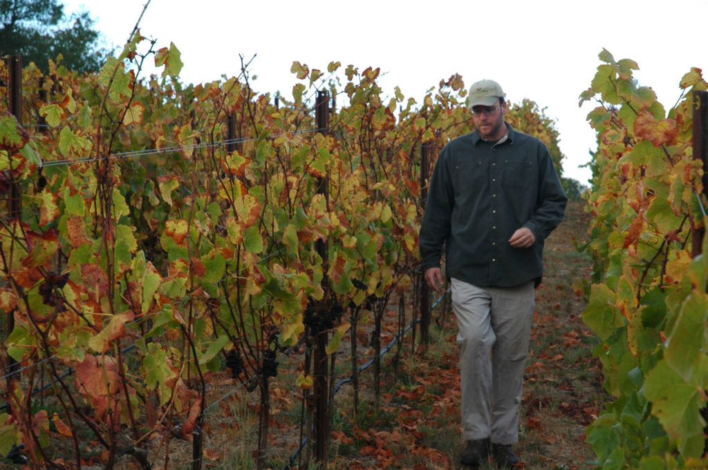 Winemaker Joe in the Owl Ridge vineyard