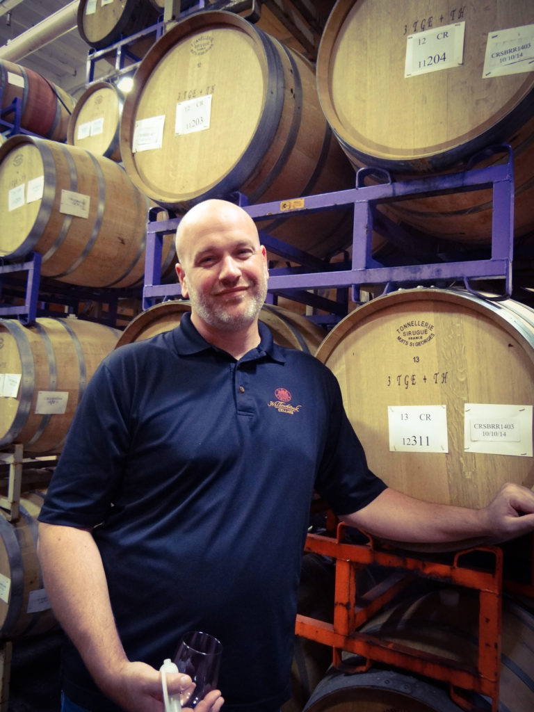 Joe tasting through barrels on a recent vintage